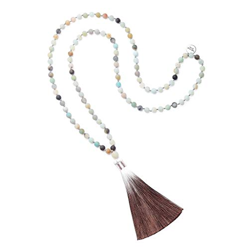 OKIKO 108 Mala Beads Necklace Tassel Long Chain Boho Statement for Women Yoga Meditation Gemstone ()