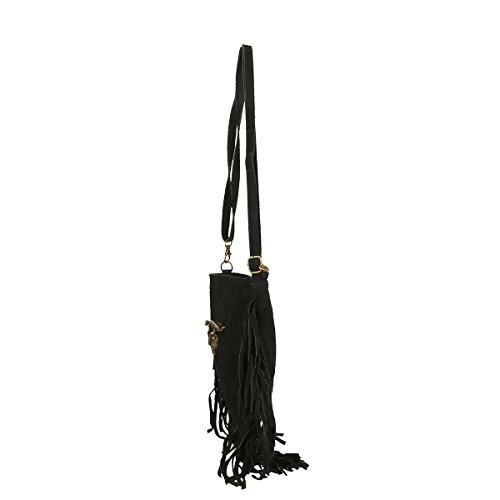 Chicca Borse Piel genuina hombro bolso 21x24x2 Cm negro