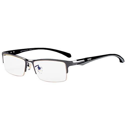 (Caponi Men Titanium Eyeglasses Frame For Men Eyewear Clear Lens Flexible TR90 Temples Full Rim 9064 (9065-Gun))