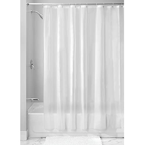 InterDesign EVA Liner, Mold and Mildew Resistant Plastic Shower use Alone or with Fabric Curtain, Long, Frost -