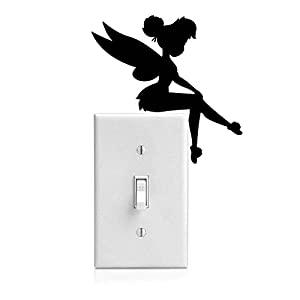 Yoonek Grapics Tinker Bell Decal Sticker for Light Switch, Car Window, Laptop and More # 933 (4″ x 4″, Black)