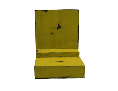 2 Piece Wood / Wooden Bookends - Yellow - Decorative Distressed Vintage Wooden Book Display