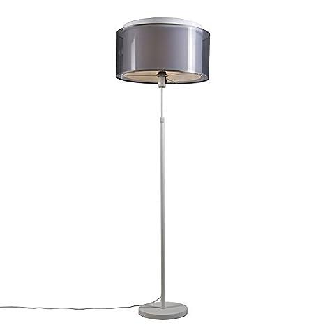 QAZQA Moderno Lámpara de pie PARTE blanca con pantalla negra ...