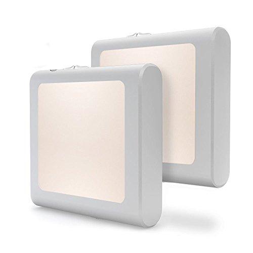 [2Pack] Vintar Plug-in Led Night Light with Auto Dusk to Dawn Sensor,Adjustable Brightness Warm White Lights for Hallway,Bedroom, Kids Room, Kitchen, Stairway,Bathroom by VINTAR