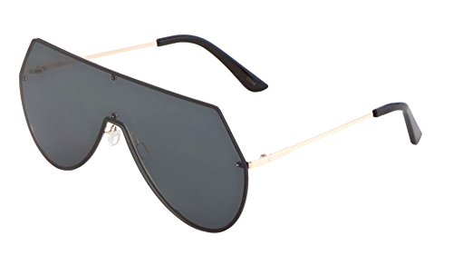 Rimless Oversized Flat Top Shield Aviator Sunglasses (Gold Frame, - Shades Futuristic