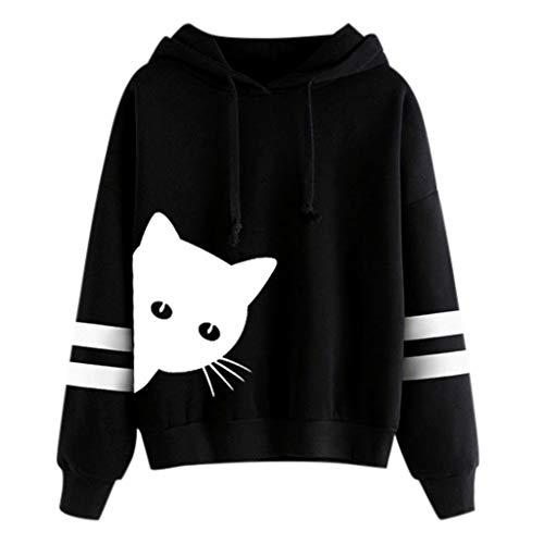 kaifongfu Womens Cat Print Long Sleeve Hoodie Sweatshirt Hooded Pullover Tops Black (Cat-ausschnitt)