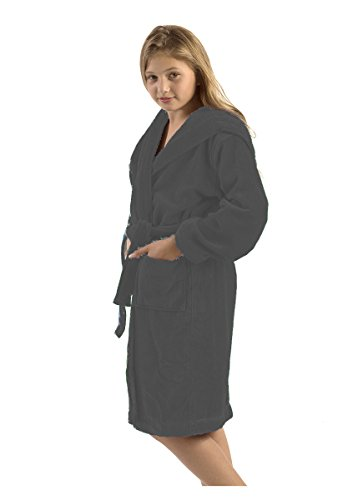 robesale Bamboo Kid's Hooded Bathrobe, Large, Charcoal