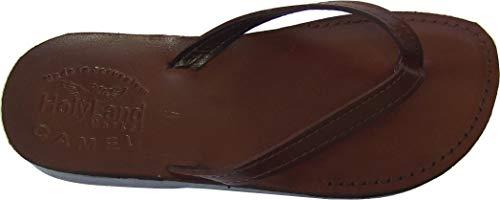 Holy Land Market Unisex Genuine Leather Biblical Flip Flops (Jesus - Yashua) Jericho Style - 44 M EU Brown