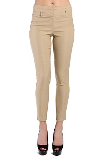 TheMogan Women's Pintucked High Waisted Skinny Trousers Khaki 3XL