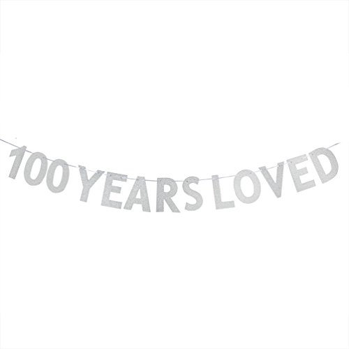 100 YEARS LOVED Banner - 100th Birthday/Wedding Anniversary Party Decorations Photo Props - -