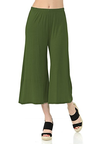iconic luxe Women's Elastic Waist Jersey Culottes Pants X-Large Olive