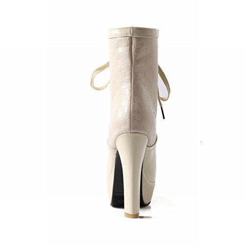 Carol Sko Mote Kvinners Blonder-up Eleganse Patent Lær Plattform Elegante Nye Ankomst Tykk Høy Hæl Ankel Boots Beige