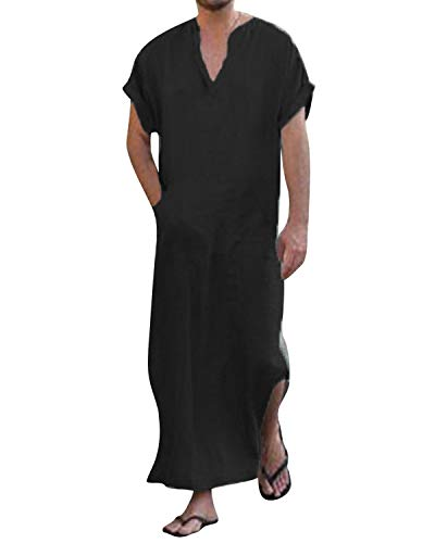 Vintage Caftan - Jacansi Men's Vintage V-Neck Caftan Cotton Robe Casual Dress Kaftan Long Thobe Black XL