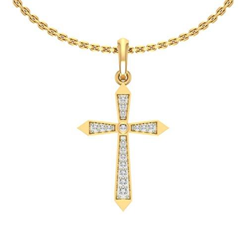 14K Or jaune Diamant 0.09CT TW Round-shape (IJ | SI) diamant Pendentif