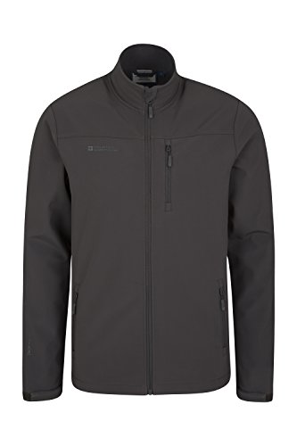 Mountain Warehouse Grasmere Mens Softshell Jacket  Breathable Raincoat Dark Grey X Large
