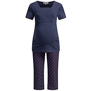 Herzmutter Maternity-Nursing Pajama for Women – Sleepwear-Set for Pregnancy – Nightwear with Breastfeeding Function…