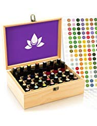 Essential Oil Box - Wooden Storage Case Holds 35 Bottles & Tall Roller Bottles. Natural Pine Wood. Free EO Labels & Foam Pad....