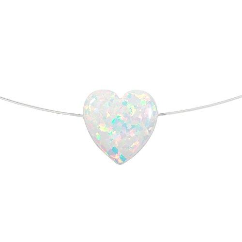 Opal Heart Nylon Necklace. Heart Opal Pendant Necklace Floating Illusion (16'' White) (Floating Illusion Necklace)