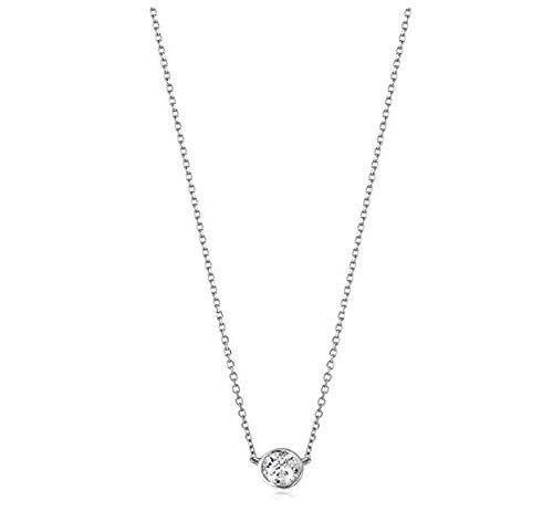 - AGS Certified 1.0 Carat Brilliant-Cut Diamond 14K White Gold Bezel-Set Necklace, 16 + 2 Extender (L-M Color, I1-I2 Clarity)