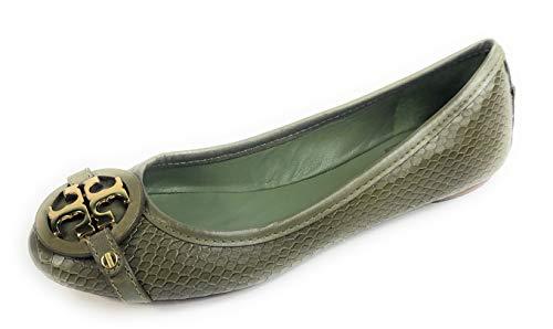 Tory Burch Aaden Ballet Flat Snake Print Leather Moonlight Jade 7 Green