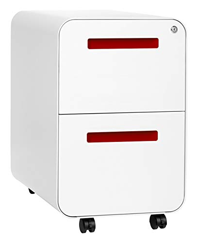 Stockpile 2-Drawer Modern Mobile File Cabinet, Commercial-Grade (White/Red)