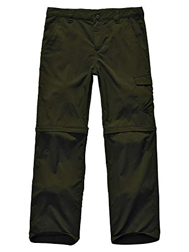 Convertible Green - Kids Boy's Cargo Pants-Youth Athletic Convertible,Hiking Camping Fishing Trail Zip Off Trousers #9011 Army Green-L