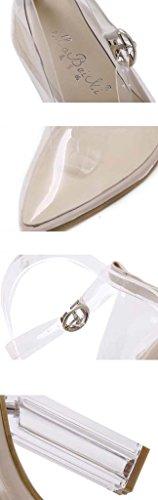 SHEO sandalias de tacón alto La señora señaló los tacones altos de cristal transparente de espesor con tacón tacones altos Negro