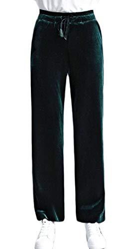 Hajotrawa Women Palazzo High Waisted Trousers Velour Loose Wide Leg Pants Green L ()