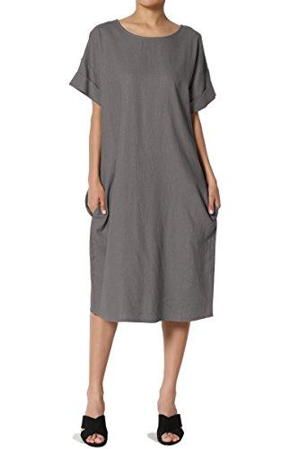 TheMogan Women's Short Sleeve Linen Pocket Oversized Shift Midi Dress Grey S