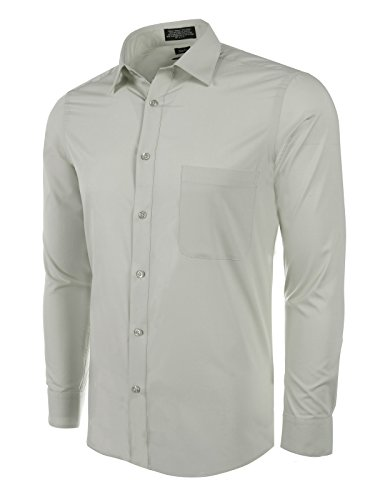 Marquis Slim Fit Dress Shirt - Silver,X-Large 17-17.5 Neck 34/35 Sleeve