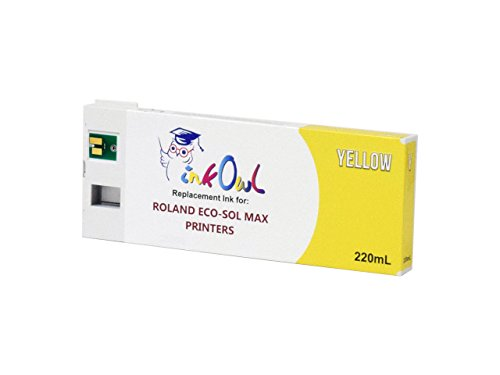 InkOwl Compatible Ink Cartridge Replacement for Roland ECO-SOL MAX Printers ESL3-YE (220mL, Yellow) - USA-Made Ink ()