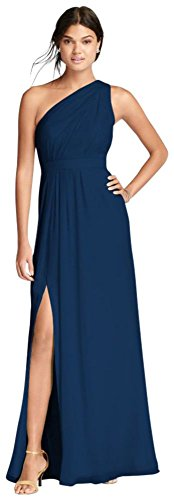 David's Bridal Long One-Shoulder Crinkle Chiffon Bridesmaid Dress Style F18055, Marine, 20