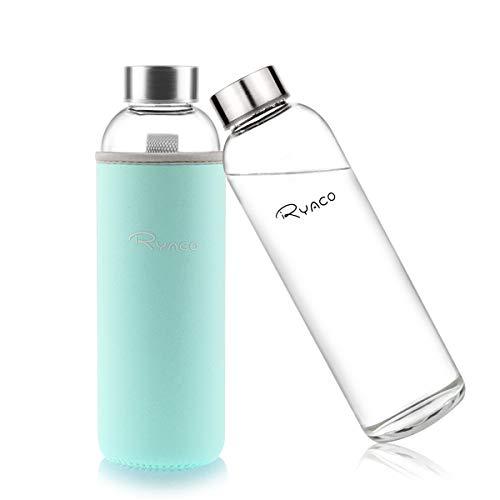Ryaco Botella de Agua Cristal 550ml, Botella de Agua Reutilizable 18 oz, Sin BPA Antideslizante Proteccion Neopreno Llevar Manga y Cepillo de Esponja