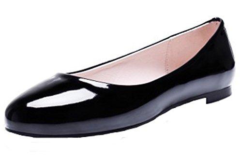 Summerwhisper Womens Simple Round Toe Low-cut Wide Width Slip-on Flats Pumps Shoes Black