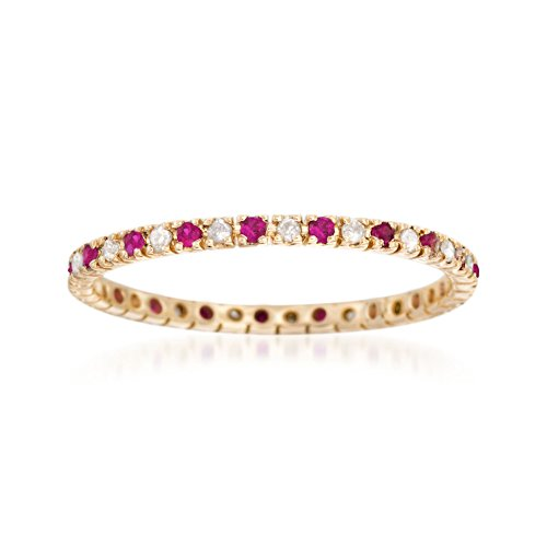 Ross-Simons 0.10 ct. t.w. Ruby and .15 ct. t.w. Diamond Eternity Band Ring in 14kt Yellow Gold ()