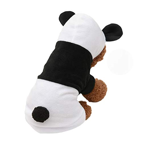 Adarl Winter Warm Pet Dress Up Costumes Dog Jumpsuit Coat Colothes Soft Fleece Hoodies Panda Apparel for Puppy Dog Cat White/XS