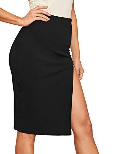(WDIRARA Women's Sexy High Waist Solid Color Side Split Elastic Skirt Black L)