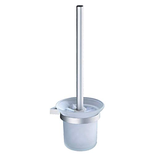 YXN Toilet Brush Set Shelf Space Aluminum Wall-Mounted Washing Toilet Cleaning Brush Holder Anti-Corrosion Waterproof Glass Brush Cup Toilet Rack Silver H34.5 cm by YXN