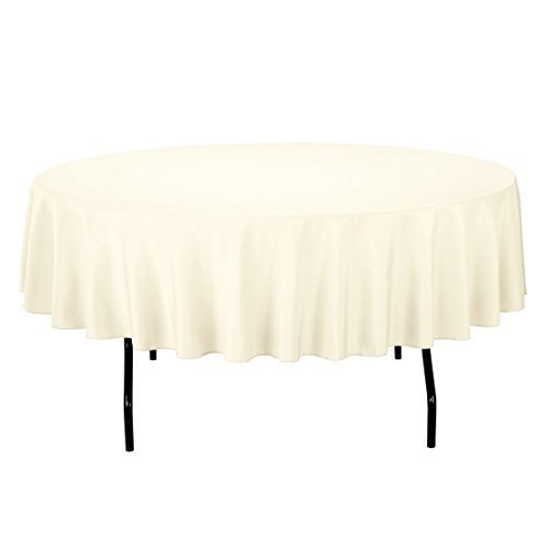 LinenTablecloth 90-Inch Round Polyester Tablecloth Ivory by LinenTablecloth