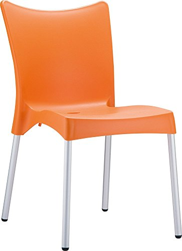 Clear Chair Store 045O Juliette Indoor and Outdoor Stacking Chair (Set of 4), Orange
