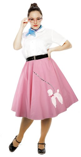 [Cotton Poodle Skirt - Large / XL - Pink] (Pink Poodle Skirt 50s Adult Costumes)