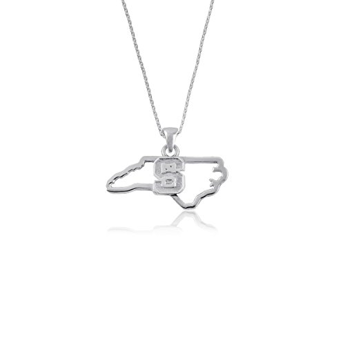 - NC State University Wolfpack NCSU Sterling Silver Jewelry by Dayna Designs (State Outline Necklace)