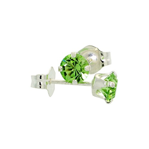 Ring Peridot Crystal Swarovski (Sterling Silver August Birthstone Stud Earrings with Peridot Color Swarovski Crystals 4 mm 1/2 ct total)