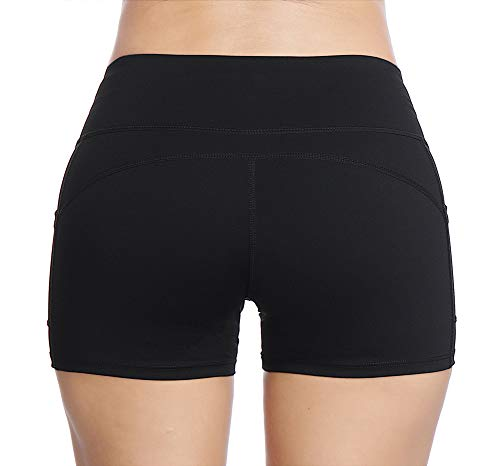 THE GYM PEOPLE Compression Short Yoga Shorts Women Power FlexRunning Fitness Shorts with Pockets (Medium, Black) by THE GYM PEOPLE (Image #2)