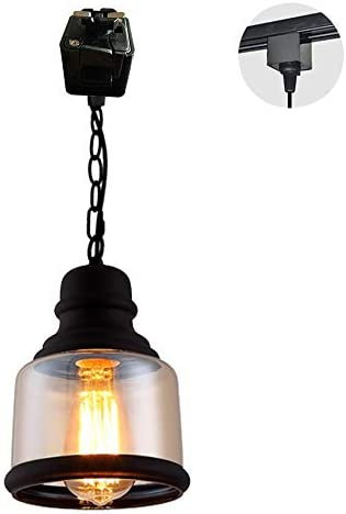 STGLIGHTING Dimmable Iron Chain Pendant Light JunoType Track Light Modern Circular Amber Glass Lamp Shade Industrial Vintage Instant on Track Mount Pendant Lights for Kitchen Island Customizable