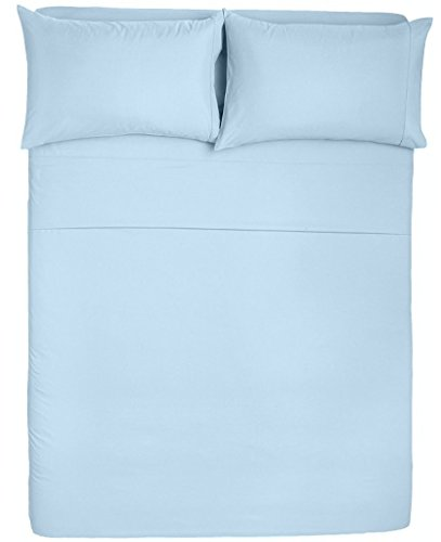 Sleeper Microfiber Full - Angel Bedding Hotel Collection Bed Sheets and Pillowcases - 1800 Series Brushed Microfiber - Wrinkle, Fade, Stain Resistant - 4 Piece (Full Sleeper Sofa, Solid Light Blue)