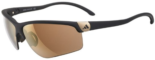 adidas S a165-6071 Adivista Rectangle Sunglasses, Matte Black Frame/LST Contrast Gold Lens, One (Adidas Gold Lens)