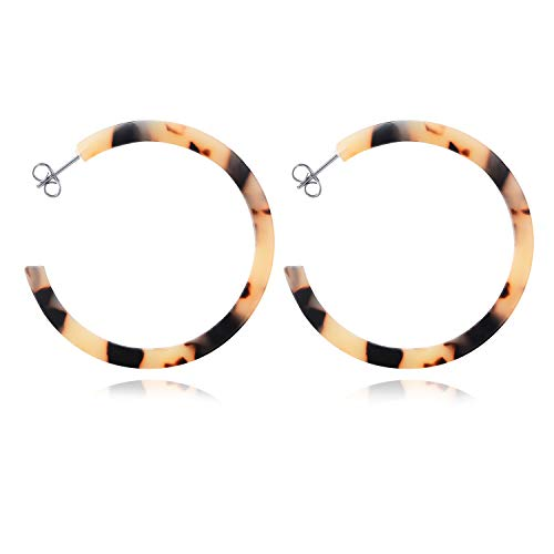 LUHE Mottled Acrylic Hoop Earrings Sterling Silver Tortoise Floral Round Statement Resin Circle Earrings for Women Acrylic Gold Plated Earrings