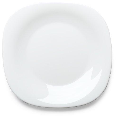 Bormioli Rocco Parma Dessert Plates, Set of 6, White (Square Tempered Glass Plate)