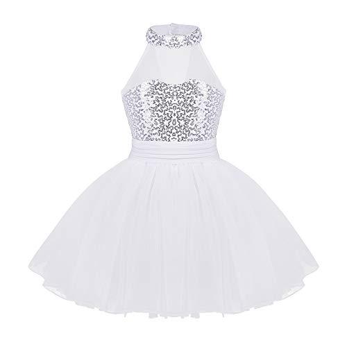 TiaoBug Girls Sequined Dress Sweetheart Ballerina Leotard Skirted Dancewear Costumes White